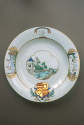 Plate with the quartered arms of Holburne of