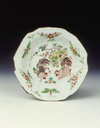 Pair of polychrome saucers with cockerelsMing