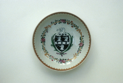 Teabowl and saucer with the arms of Prattc.1785