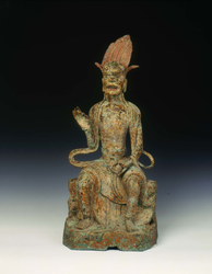 Dated gilt bronze door guardian figure