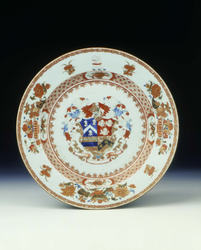 Famille rose plate with the arms of Alexander