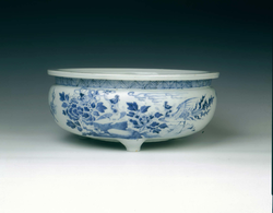Dehua blue and white tripod bowl, Qing dynasty
